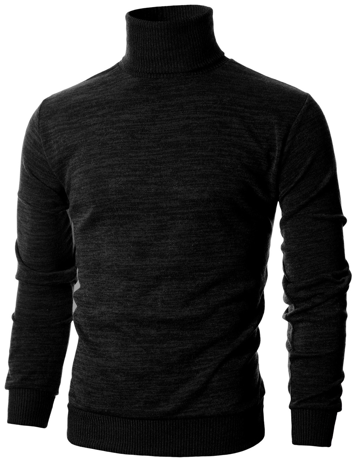 Ohoo Mens Slim Fit Long Sleeve Turtleneck Mixed Ribbed Hem Pullover Sweater/DCP024-BLACK-L