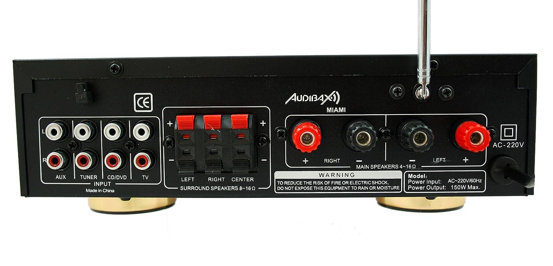 Amplificador Karaoke Bluetooth 100W + 100W Músicales Audibax Miami. Entrada 2 Micrófonos con volumen de mezcla y Echo. Radio FM .Entradas SD / USB .