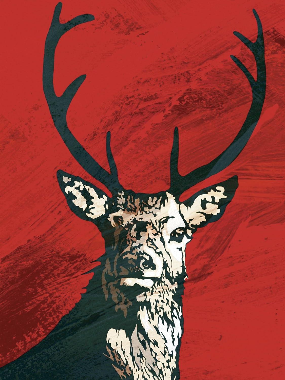 Artland Qualitätsbilder I Bild auf Leinwand Leinwandbilder Wandbilder 90 x 120 cm Tiere Wildtiere Hirsch Digitale Kunst Rot B4GP Hirsch