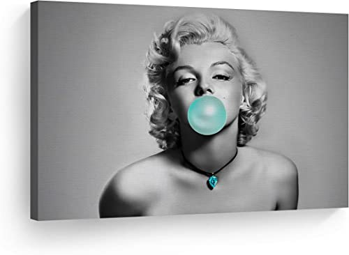 Marilyn Monroe Bubble Gum Chewing Gum Black and White Horizontal Canvas Print Home Decor/Iconic Wall Art/Gallery Wrapped Canvas Art Stretched/Ready to Hang 30×40