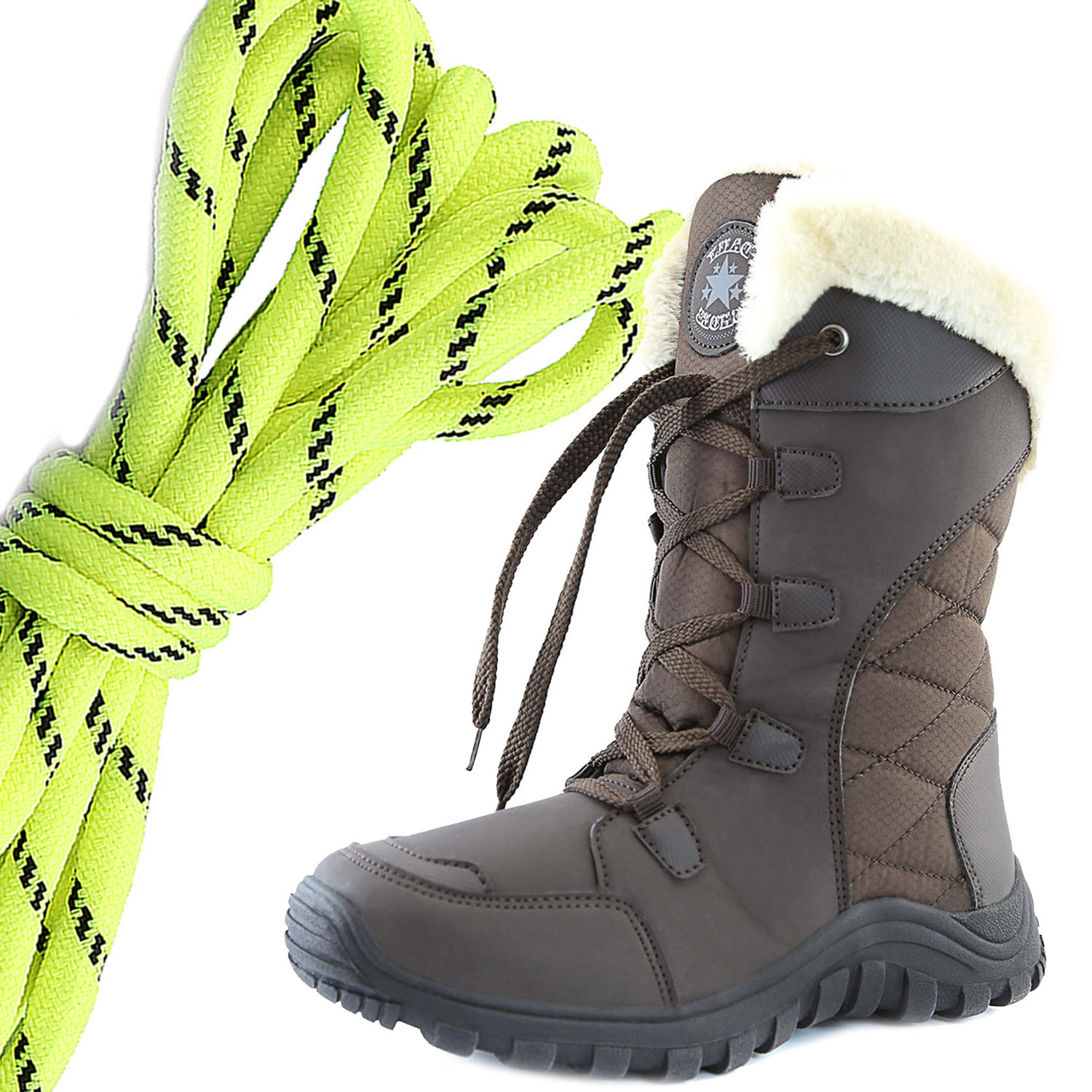 Neon Yellow Black DailyShoes Womens Comfort Round Toe Mid Calf Hiking Outdoor Ankle High Eskimo Winter Fur Snow Boots
