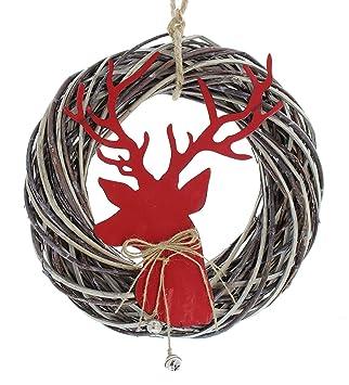 Türkranz Modern deko kranz roter hirsch weihnachtskranz weihnachtsdeko weidekranz