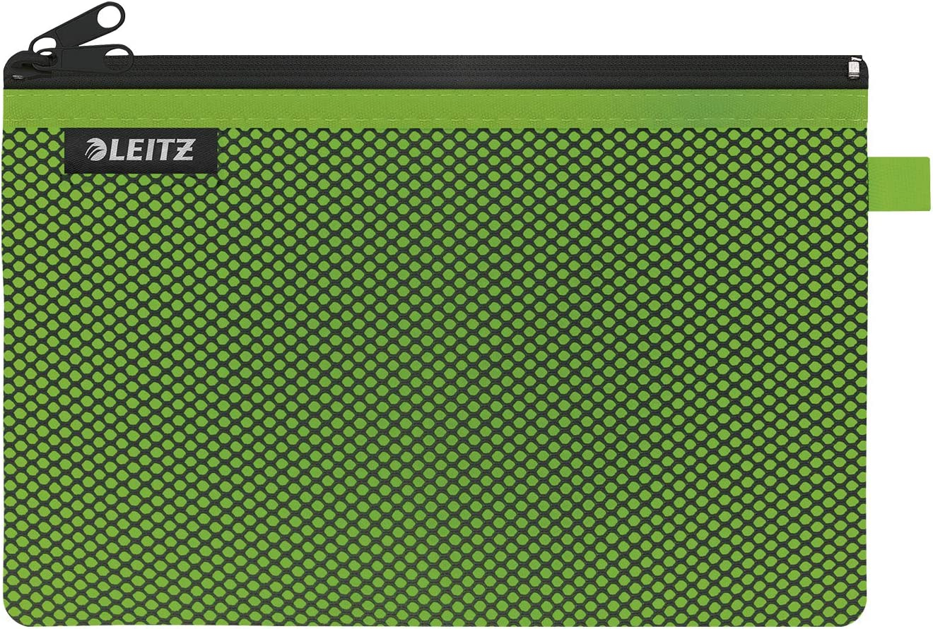 Abwaschbar 23 x 15 cm Gr/ö/ße L Leitz WOW Traveller Zip-Beutel mit 2 F/ächern 40130054 Gr/ün Leichtl/äufiger Rei/ßverschluss Ideal zur Organisation