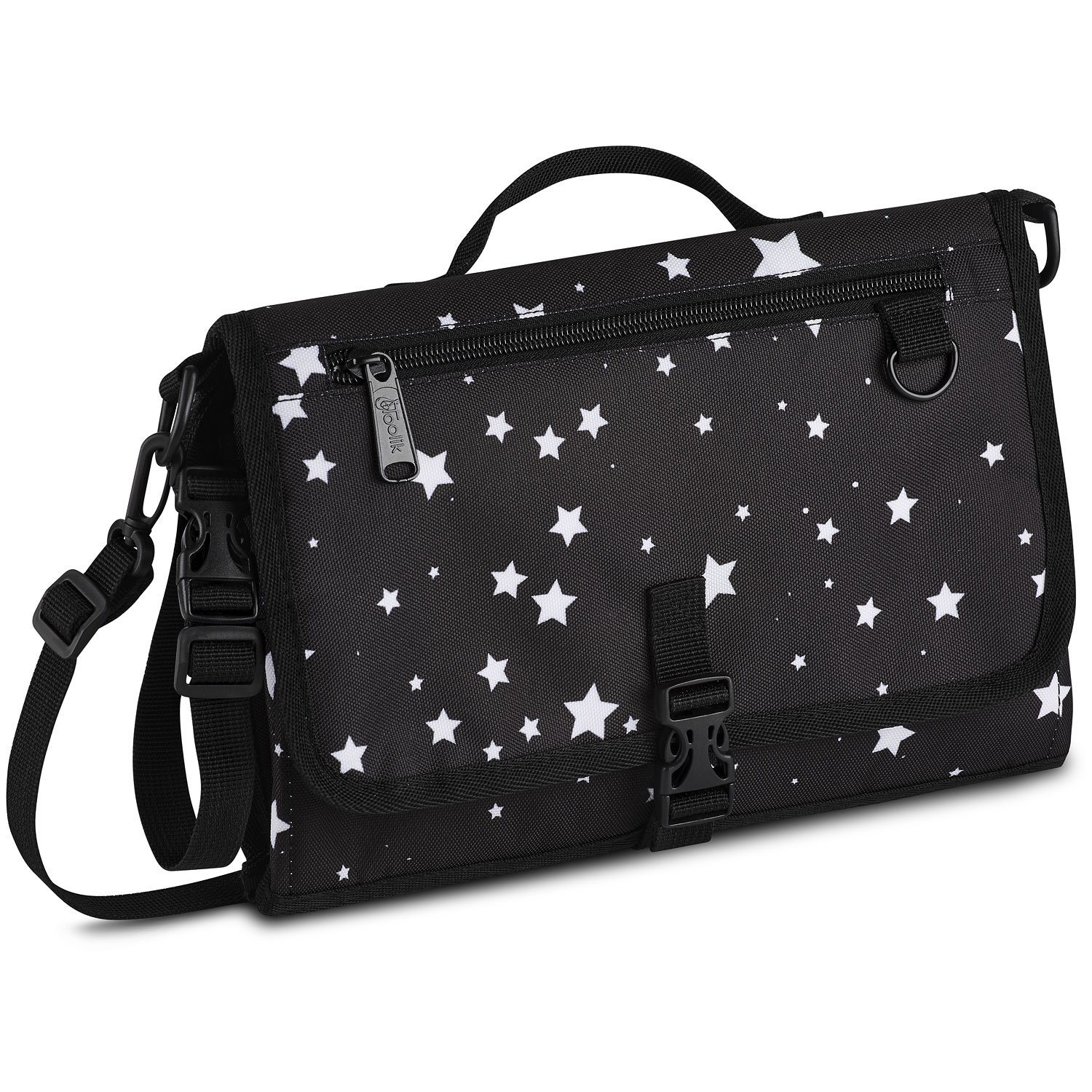 Toolik Black with White Stars Diaper Clutch with Waterproof Changing Pad for Baby, Portable Changing Station
