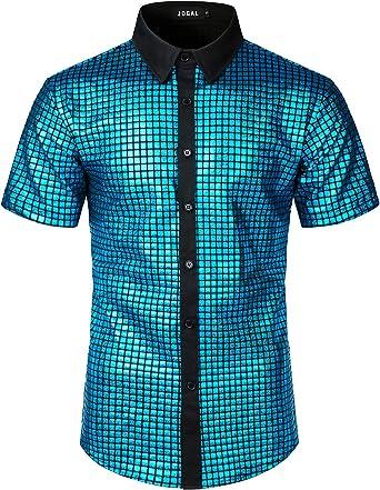 JOGAL Camisa de vestir para hombre con lentejuelas y botones de manga corta, para fiesta de discoteca de los años 70: Amazon.es: Ropa y accesorios