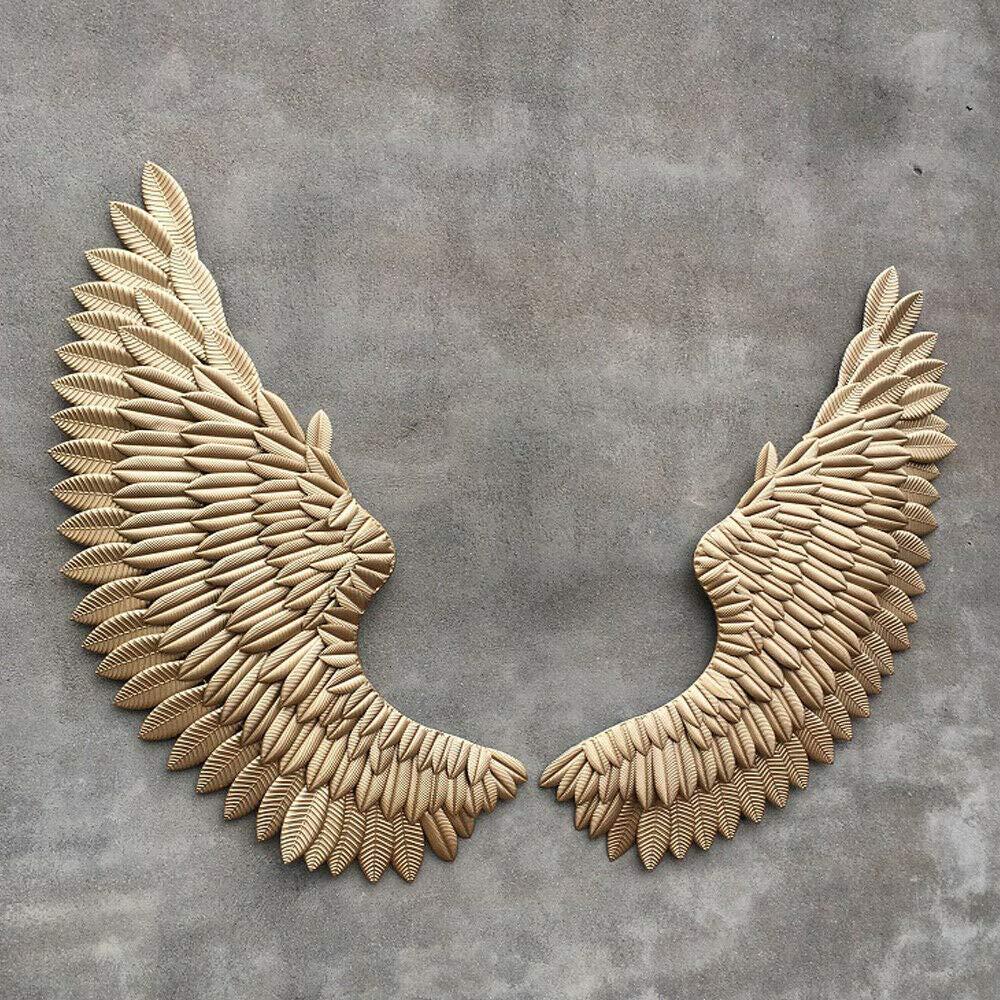 OUKANING Decoraci/ón de Pared con alas de /ángel Plata Colgante 38 x 100 cm para Pared