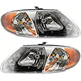 Discount Starter and Alternator CH2503129 CH2502129 Dodge Caravan Replacement Headlight Pair Plastic Lens With Bulbs