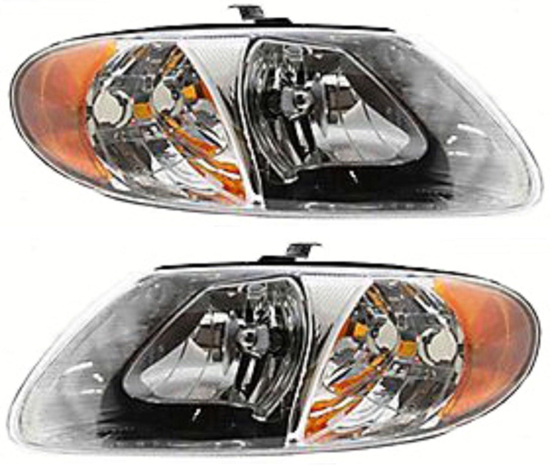 Amazon com discount starter and alternator ch2503129 ch2502129 dodge caravan replacement headlight pair plastic lens with bulbs automotive
