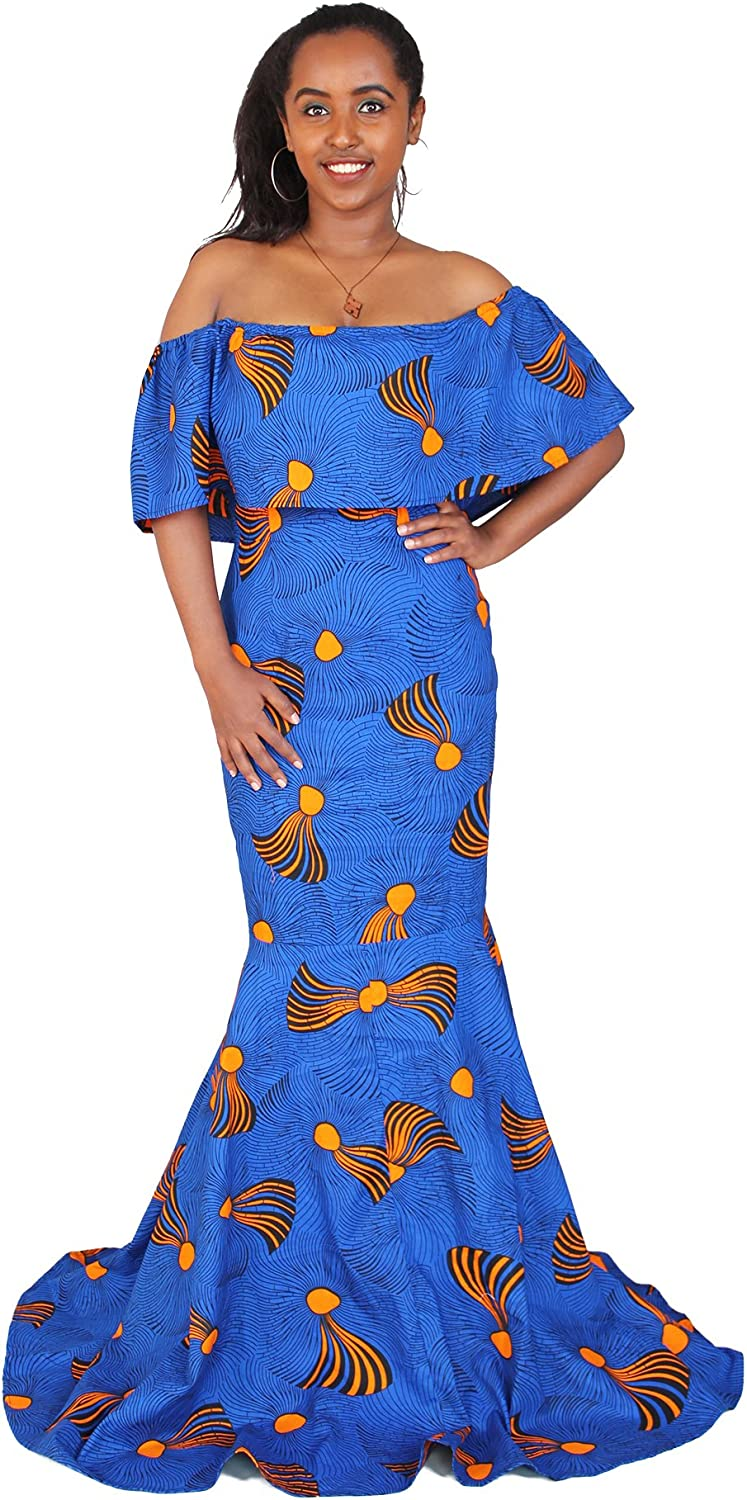 FANS FACE Women Tradtional African Print Elegant Long Sleeve Maxi Dresses Dashiki for Party Cocktail Prom
