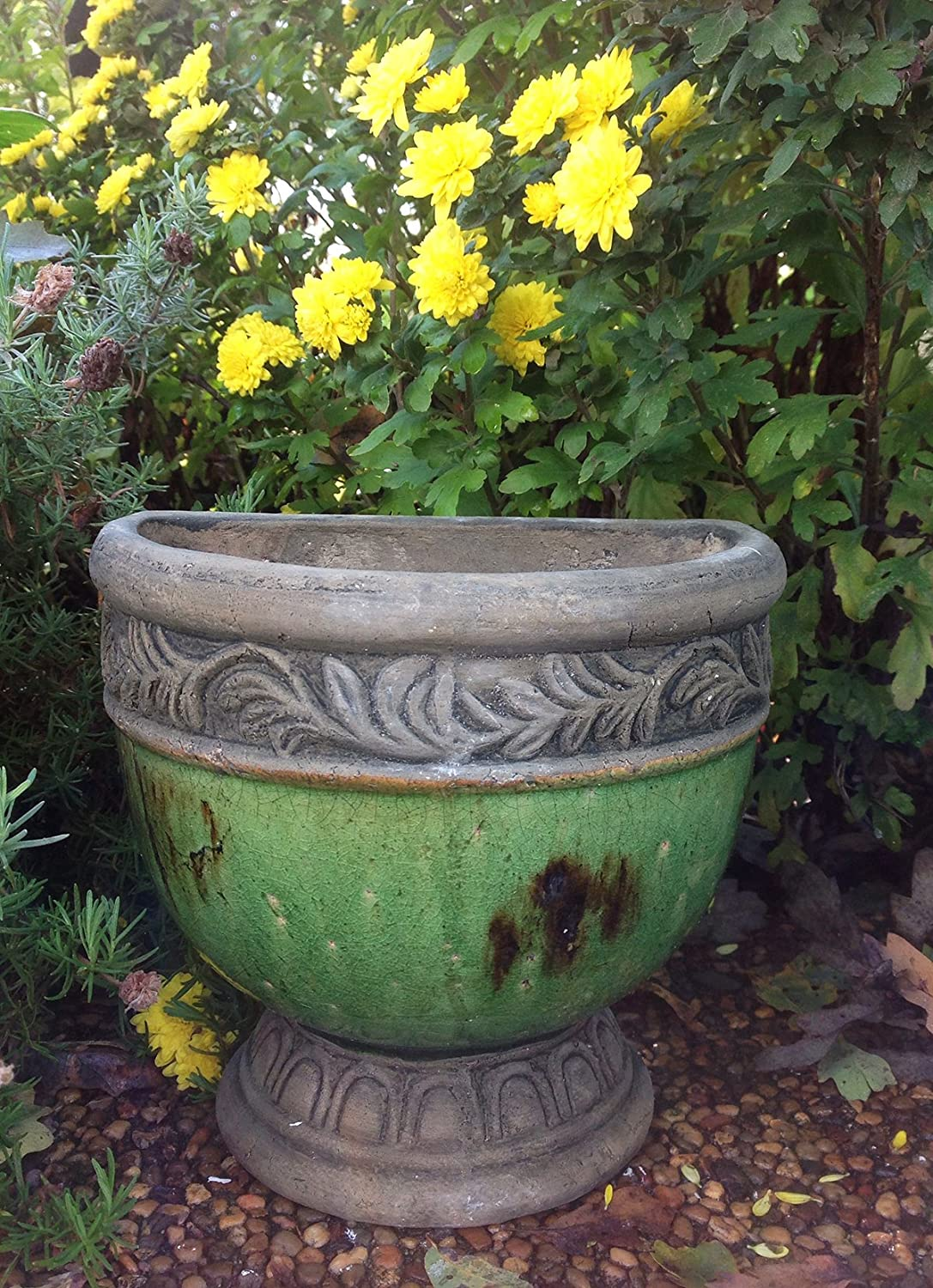 Old World Hand-Pressed Terracotta Glazed Hanging Pot 3 Colors Available Green