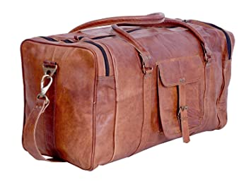 Image Unavailable. Image not available for. Color  24 Inch Vintage Leather  Weekend Bag Overnight Travel Bag Duffel Bag Brown Luggage Carry-On d5c0417059