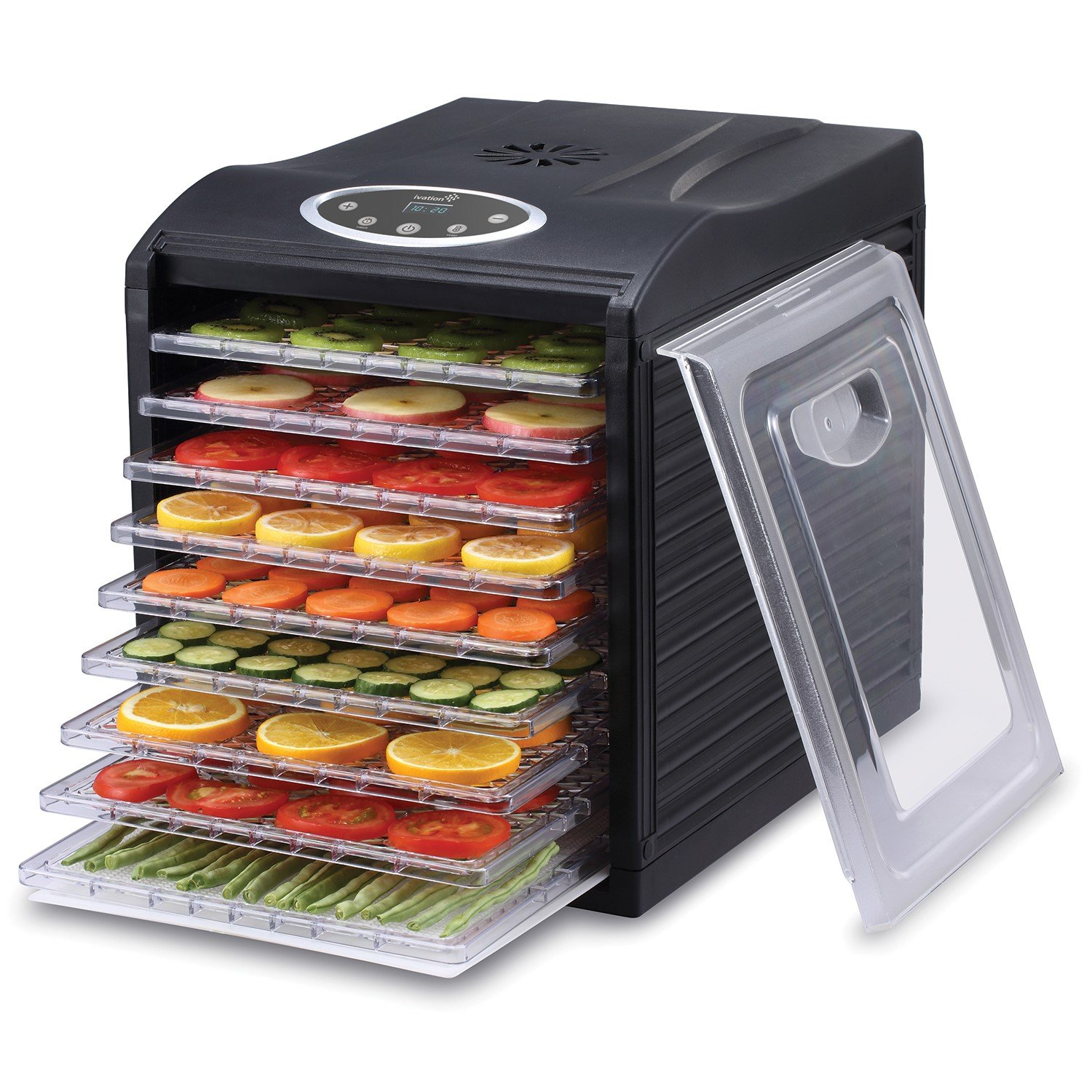 Ivation 600w Electric Food Dehydrator Pro with 9 Drying Trays, Digital Temperature Controls and Timer with Automatic Shutoff from 95ºF to 158ºF, for Beef Jerky, Dried Fruits, Vegetables & Nuts by Ivation