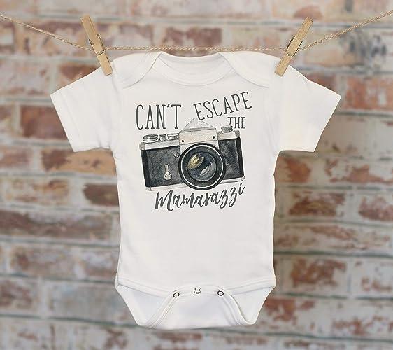 1e73c56fc Amazon.com: Can't Escape The Mamarazzi Camera Onesie®, Funny Onesie ...