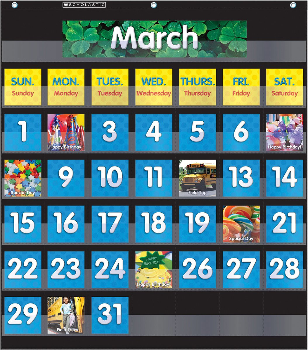 Scholastic Classroom Resources Pocket Chart Monthly Calendar, Black (SC583866) by Scholastic