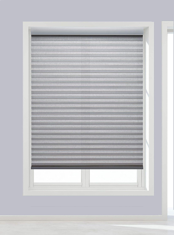 Decor Avenue Custom Cordless 24 W x 30 to 36 H Platinum Light Filtering Cellular Shade Inside Mount