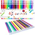Gel Pen, Coloring Gel Pens for Kid Adult Coloring Books, 24 Colors Gel Art Markers Fine Point Pen with 24 Refills for School Office Art Suppliers