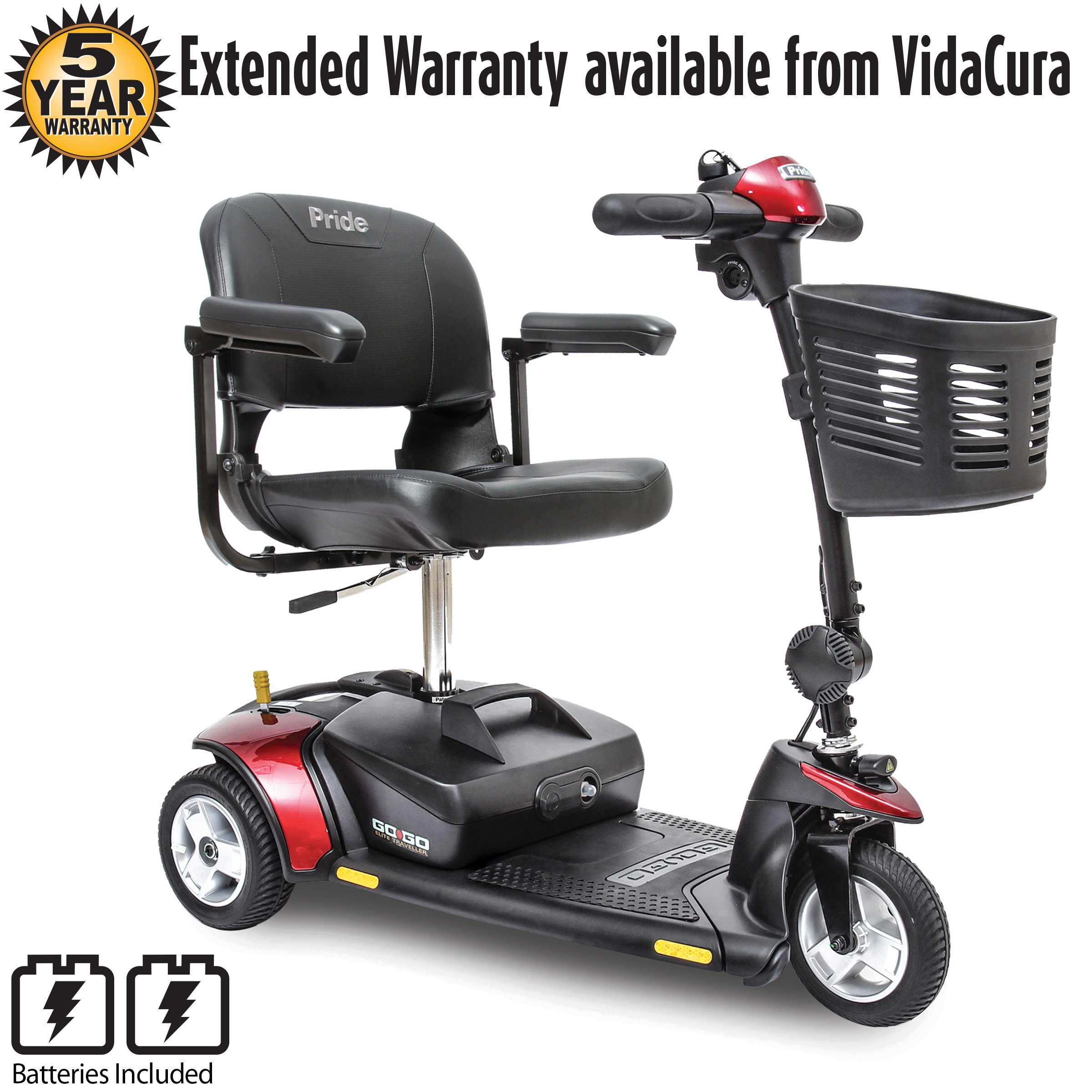 Pride Go-Go Elite Traveller 3-Wheel Scooter Including 5 Year Ext. Warr.