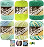 Variety Assortment Lily Sugar'n Cream Yarn 100 Percent Cotton Solids and Ombres (6-Pack) Medium Number 4 Worsted Bundle with 4 Patterns (Asst 40)