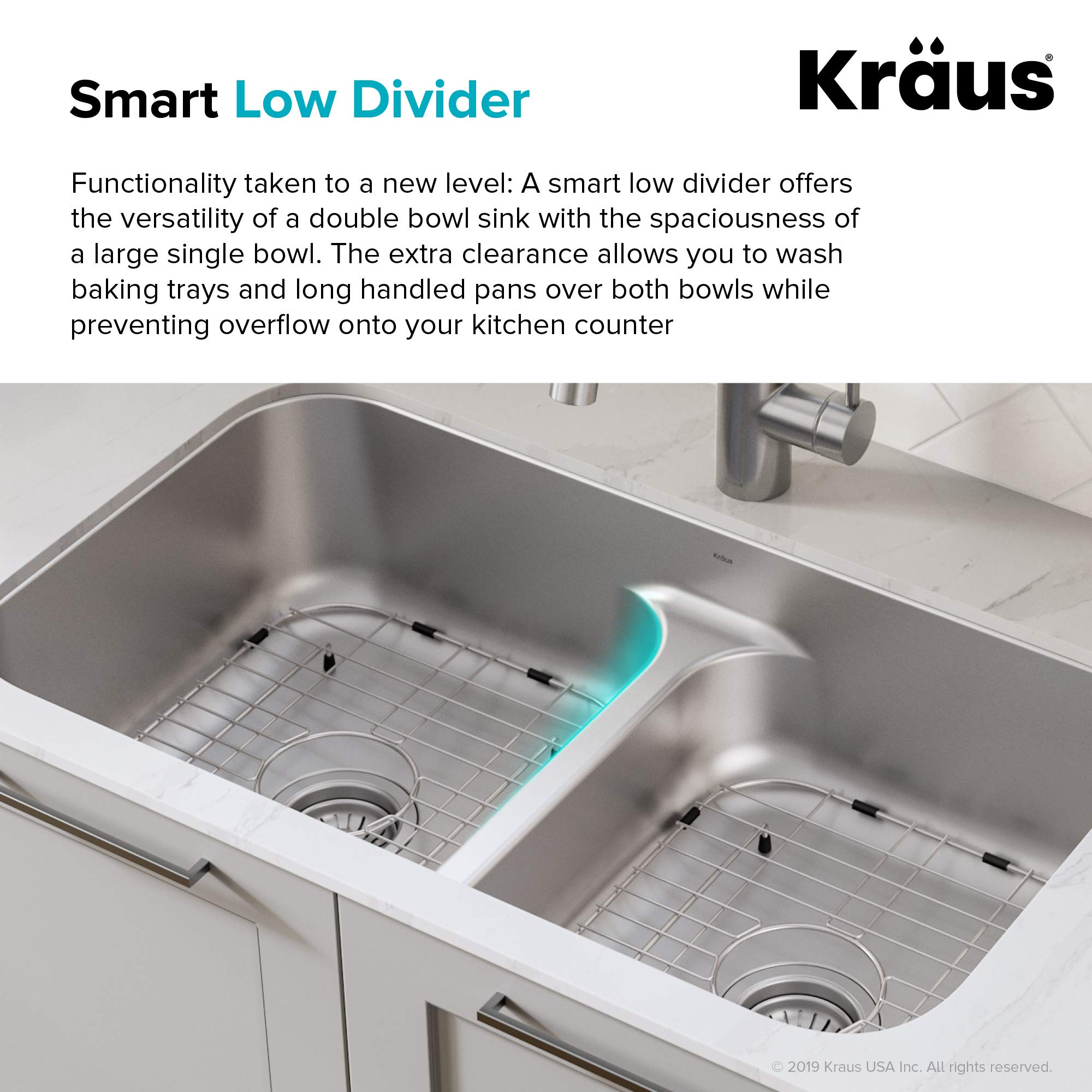 KRAUS KBU32 Premier 32-inch 16 Gauge Undermount 50/50 Double Bowl Kitchen Sink with Smart Low Divider by Kraus (Image #4)