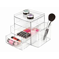 "InterDesign Clarity 12"" Bathroom Vanity Countertop Multi Level Organizer for Cosmetics, Makeup, Vitamins, Medicine Clear"