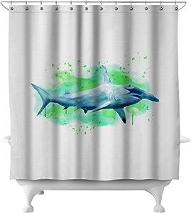 Hammerhead Shark - Watercolor (71x74 Polyester Shower Curtain)