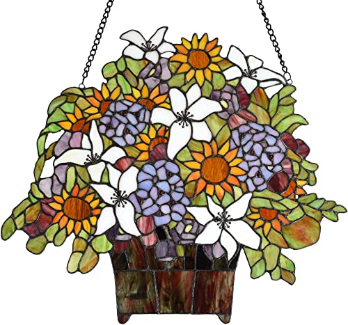 Bieye W10046 Gaily Decorated Basket Tiffany Style Stained Glass Window Panel Hangings with Sunflower Lily Flowers, 20 W x 18 H