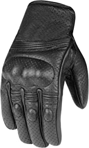 Men's Premium Leather Motorcycle Protective Perforated Gel Padded Gloves L