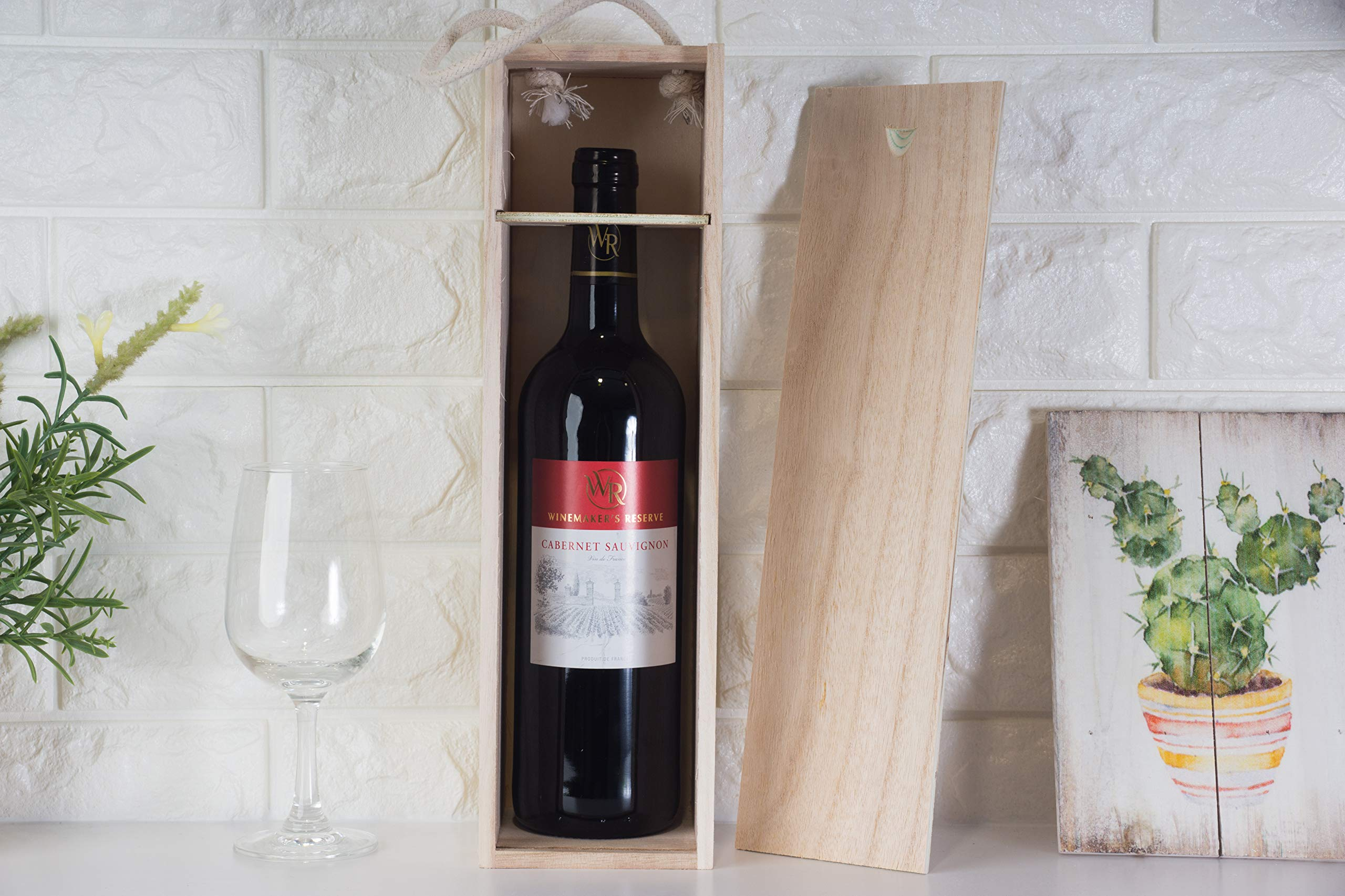 Juvale Wooden Wine Box - 2-Pack Single Wine Bottle Wood Storage Gift Box with Handle for Birthday Party, Housewarming, Wedding, Anniversary, 13.875 x 3.875 x 4 Inches by Juvale (Image #3)