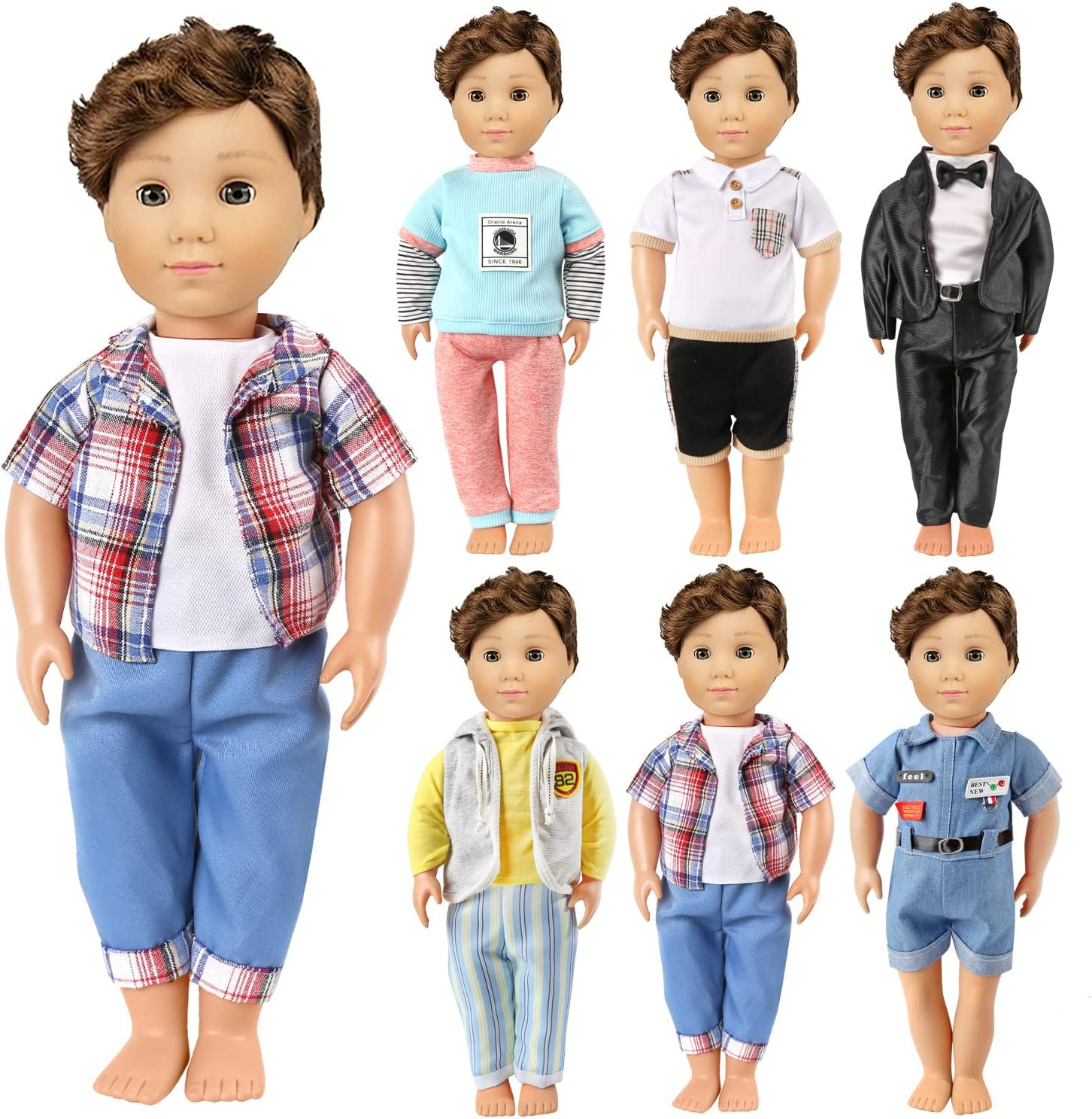 6 Sets KYToy Boys Doll Clothes 18 Inch American Doll Outfit for Logan Doll Accessories Including Fashion Jumpsuits Casual Wear Black Suit Shirts Pants Clothing