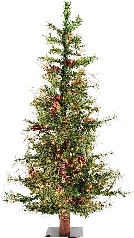 Vickerman Artificial Christmas Tree Classic PVC Needles Ashland Fir Prelit with Clear Mini Christmas Lights, 6', Green