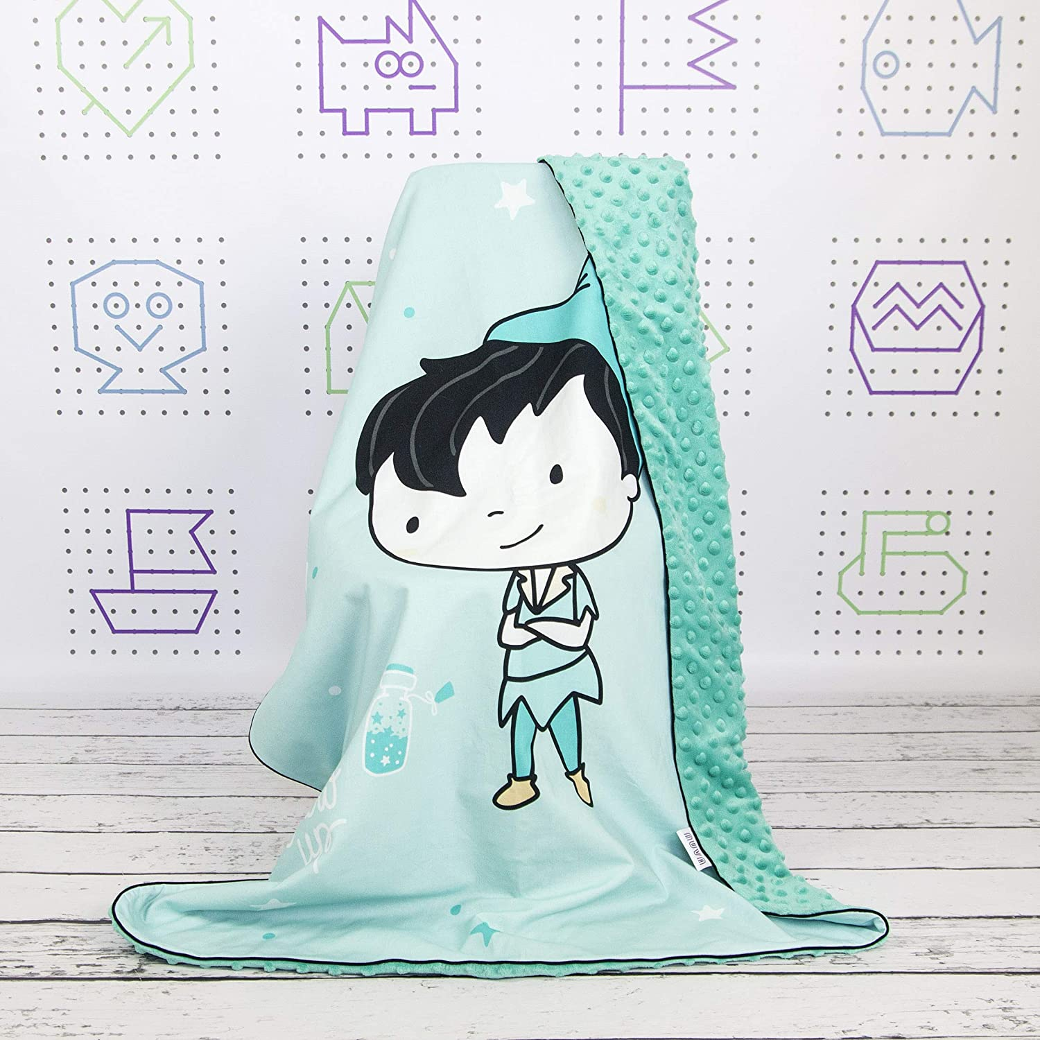 Peter Pan Baby Crib Bedding Minky Blanket With Panel Print And Flat Infant Pillow Nuva Amazon Co Uk Handmade