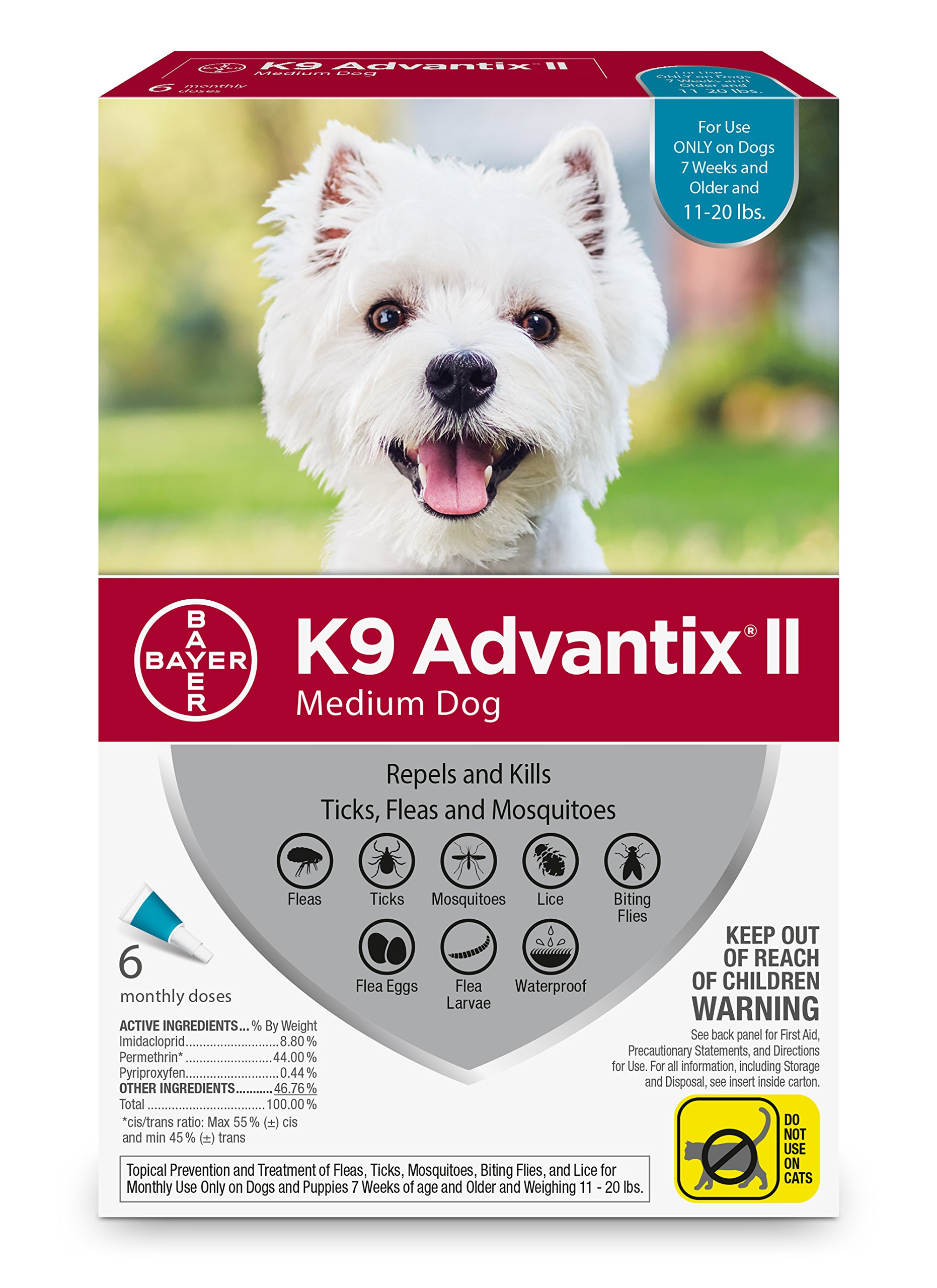 Bayer K9 Advantix II, Medium Dogs, 11 to 20-Pound, 6-Month
