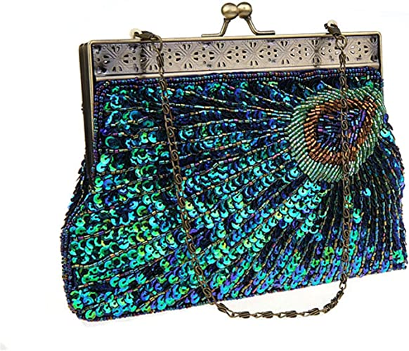Women/'s Fashion Designer Elegant Purse New Clutch Beaded Sequin Evening Handbag
