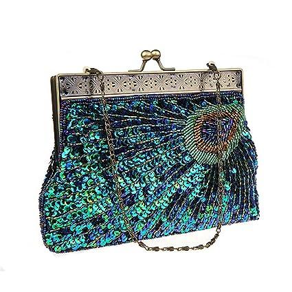 3417cf223e EVEOUT Vintage Femme Embrayage Paon Sarcelle Antique Perlé Sequin Soirée Sac  À Main Turquoise œil Attrapant