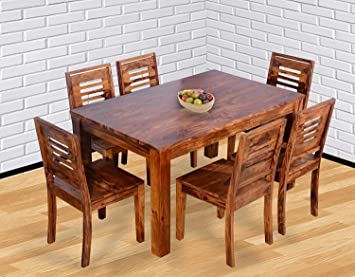Corazzin Wood Sheesham Wood Wooden Dining Table With 6 Chairs Home