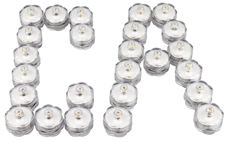 36 Pcs Warm White, Flower Petal Samyo Waterproof Wedding Submersible Battery LED Tea Lights Underwater Sub Lights Wedding Centerpieces Party Decorate