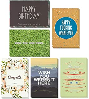 Birthday Cards Box Set 36 Pack Happy 6 Offensive Funny Designs