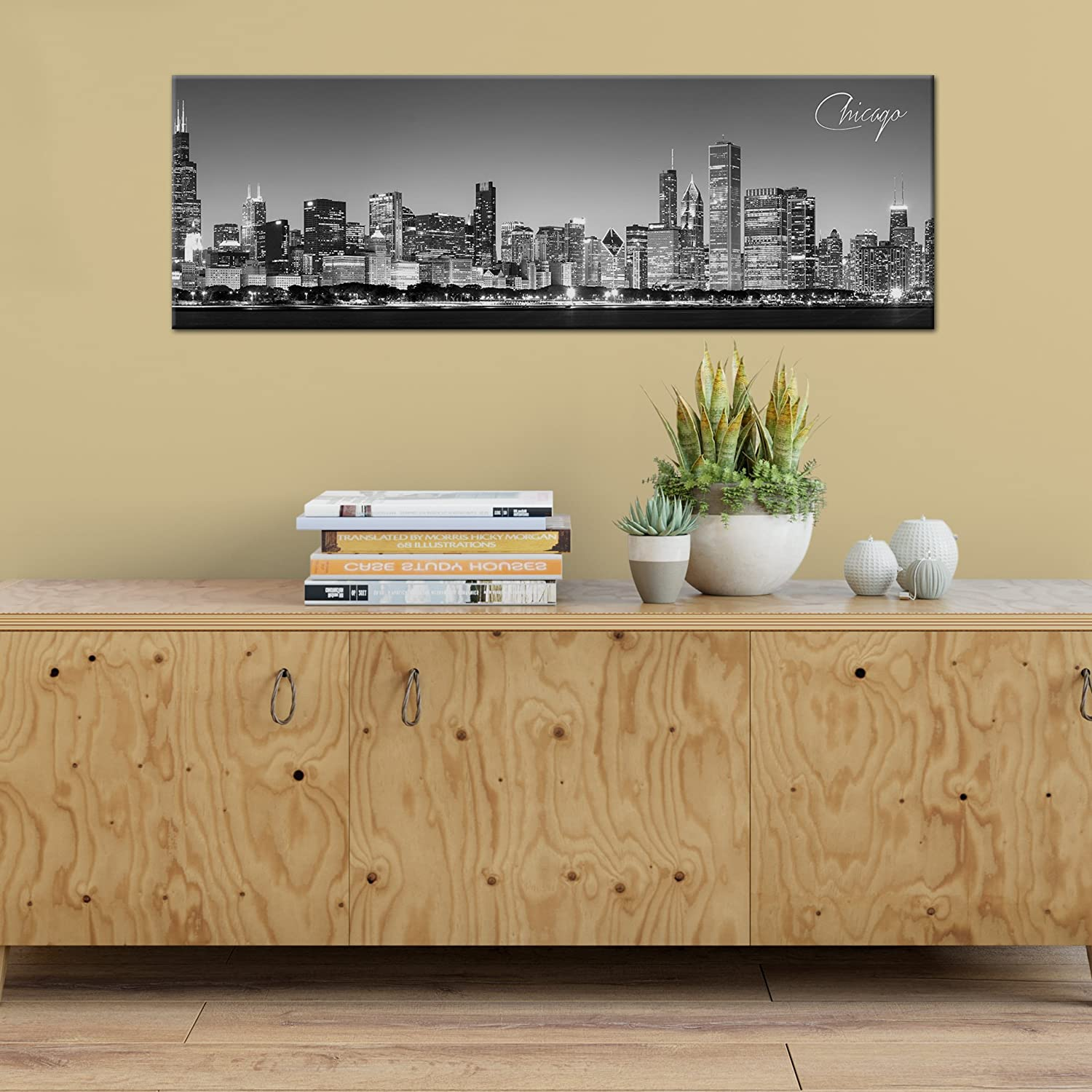 Amazon.com: Black and White Panoramic Cities 24x8 Canvas Chicago ...
