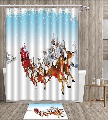 Sunsunshine Santa Shower Curtain Eco Friendly Christmas Ride On A Sleigh Cartoon Deer With Jingle