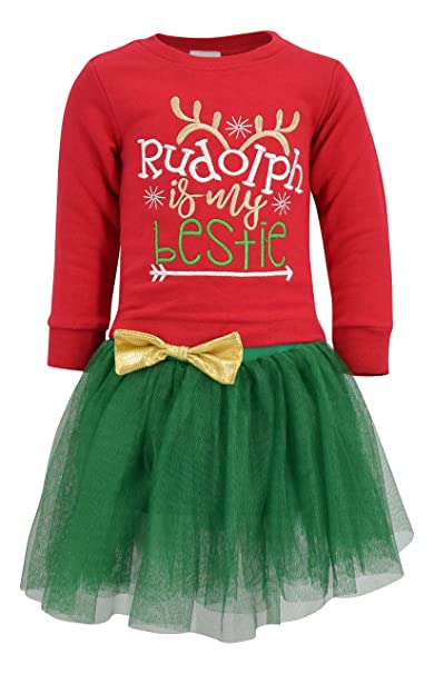 10fcd783f Amazon.com  Unique Baby Girls Rudolph is My Bestie Christmas Tutu ...