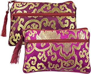 Gold Fortune 2PCS Silk Brocade Padded Tassel Double Zipper Jewelry Pouch Drawstring Coin Purse Gift Bags Value Set (Assort Color 1)