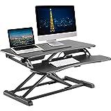 """TechOrbits Standing Desk Converter - 32"""" Height Adjustable Stand Up Desk Riser - Sit to Stand Desktop Workstation"""
