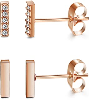 Finrezio 2 Pairs Rose-Gold Plated CZ Stainless Steel Stud Cuff Earrings for Women Girls