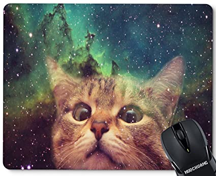 NUOCHUANG Space Cat Wallpaper Dump Mouse Pad Personalized Customized Rectangle Non Slip Rubber Gaming