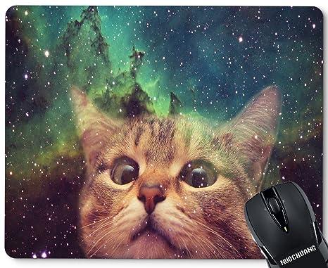 Amazon Com Nuochuang Space Cat Wallpaper Dump Mouse Pad