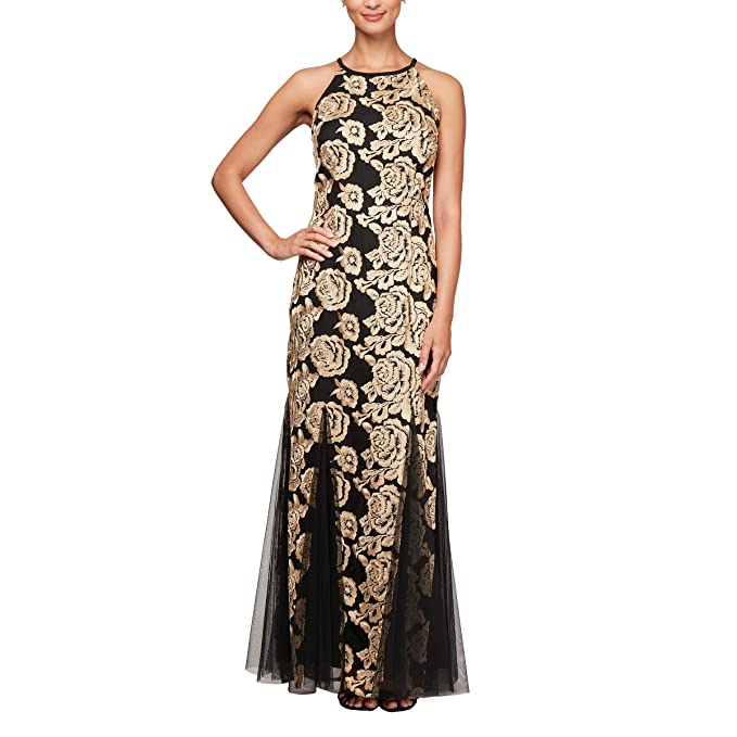 d8daf0cd8b0 Alex Evenings Women s Embroidered Dress with Illusion Neckline ...