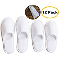 919282118fcd16 ModLux Spa Slippers - 12 Pairs of Cotton Velvet Closed Toe Slippers with  Travel Bags –