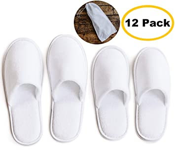 5d22bb110 ModLux Spa Slippers - 12 Pairs of Cotton Velvet Closed Toe Slippers with  Travel Bags –