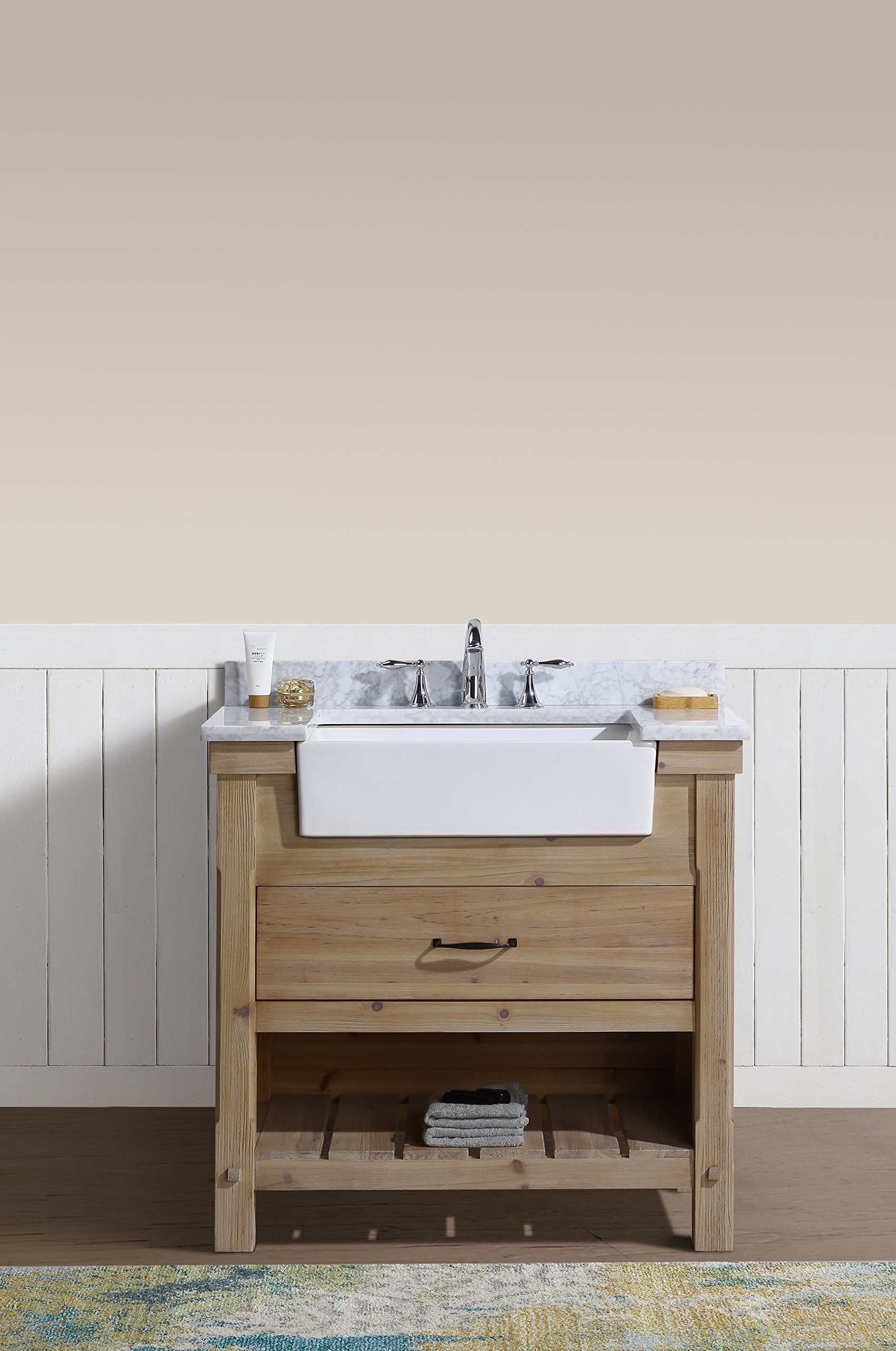 "Ari Kitchen and Bath  Marina Vanity, Driftwood, 36"" W X 22"" D X 34.5"" H - Solid wood Construction using Tenon and mortise Joinery Dovetail Joinery drawers Handcrafted furniture - bathroom-vanities, bathroom-fixtures-hardware, bathroom - 81FoELXVq1L -"