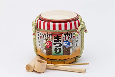 Amazon.co.jp: 岸本吉二商店 ミニ鏡開きセット まつり オレンジ ...